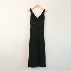 Adrianna Papell Black Beaded Evening Gown